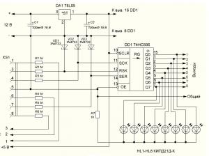 """Нехитрая схема управления радио- и электроприборами посредством Com-портов Атором данной статьи была написана программа к созданному устройству, позволяющее управлять всевозможными радио- и электроприборами посредством обычного ПК. Созданное устройство подключается к Com-порту ПК и контролируется посредством, как виртуальных клавиш, так и при с помощью внешних устройств. Пример данного устройства проиллюстрирован ниже на рисунке. Сборка базируется на микросхеме 74HC595. Данный элемент представляет собой восьми разрядный сдвиговый регистр, который имеет последовательный ввод в и параллельный вывод. Сигналы подаются на ВХОД """"SER"""" (здесь на микросхеме он идет под № 14), сигналы записи – соответственно на вход SCK (№ 11), и соответственно сигналы вывода подаются на вход RSK №12. Параллельный вывод производится через буферный регистр с выходами. В схеме DA1 имеется стабилизатор напряжения в 5 вольт, который питает регистр. Описание. Сборка подключается к Com -порту любого ПК. Все от порта сигналы идут на контакты №7 розетки SX1, сигналы записи инфы – попадают на контакт № 4, а сигналы уже выводов – идут к контакту №3. Согласно стандартам RS-232 все сигналы Com-портов имеют уровни: для логической. 1 - -12 вольт, а для логического. 0 - + 12 вольт, и сопряжение данных уровней с входами регистра DD1 осуществлено с посредством сопротивлений, то есть резисторов R2, R3, R5 и стабилитронов VD1-VD3, которые имеют напряжение стабилизации 5,1 вольт. На выходах Q0-Q7 регистра формируются сигналы для управления внешними радио- и иными электронными приборами. Высокий уровень равняется напряжению питания микросхемы, а низкий уровень около 0,4 вольта. Данные сигналы статичичны. Обновление происходит на момент поступления высокого уровня на входы RSK (здесь вывод №12) регистра DD1. В сборке светодиоде же HL1-HL8 – явно показывают работу сборки. Управляется аппарат посредством программы UmiCom, которая была специально разработана. Вид главного меню проиллюстрирован ниже. После запуска обо"""