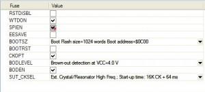 Установка фьюзов микроконтроллера. (AVR Studio )