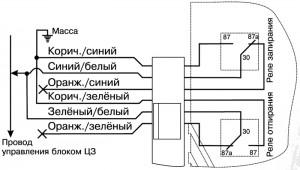 схема центрального замка управляемого плюсовым импульсоv