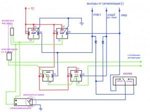 Cхема подключения автосигнализации с выходами слаботочного типа