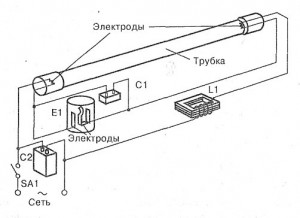 Подключение люминесцентных ламп с дросселем