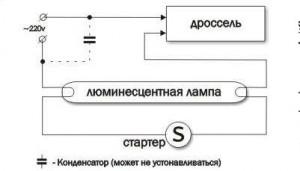 Схема подключения люминесцентной лампы принципиальная