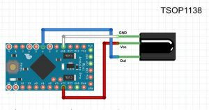 Монтажная схема подключения TSOP1138, TSOP2238, TSOP4838 к Arduino Pro mini