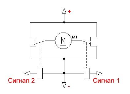 Схема мостового управления двигателем постоянного тока