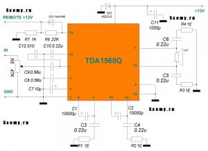 Простой автоусилитель-моноблок на основе микросхемы TDA1560Q